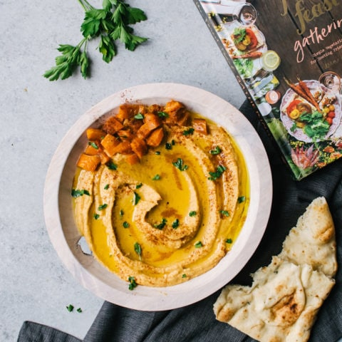 A tasty and comforting creamy roasted butternut squash hummus everyone will fight over