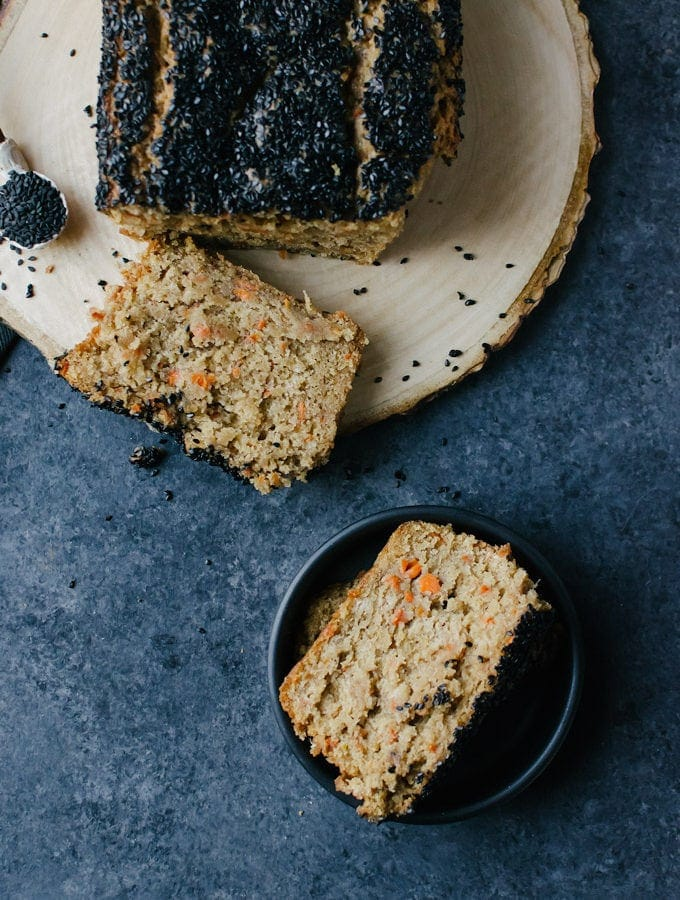 A soft and incredibly moist carrot bread topped with crunchy black sesame seeds