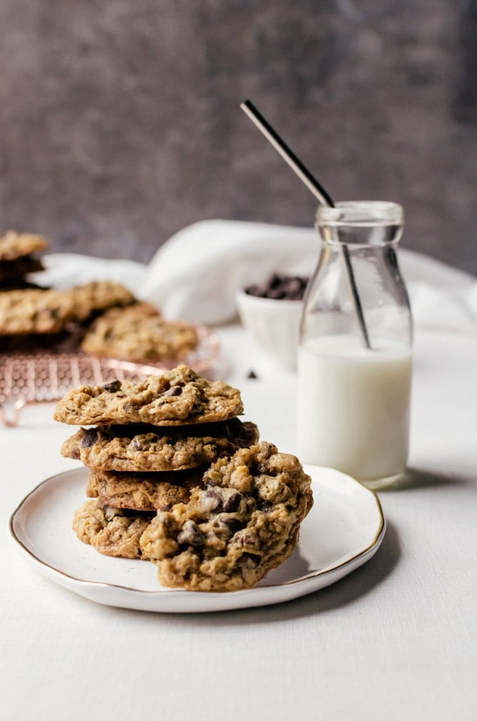 Chewy malted chocolate chip oatmeal cookies with hazelnuts are a favorite with everyone!
