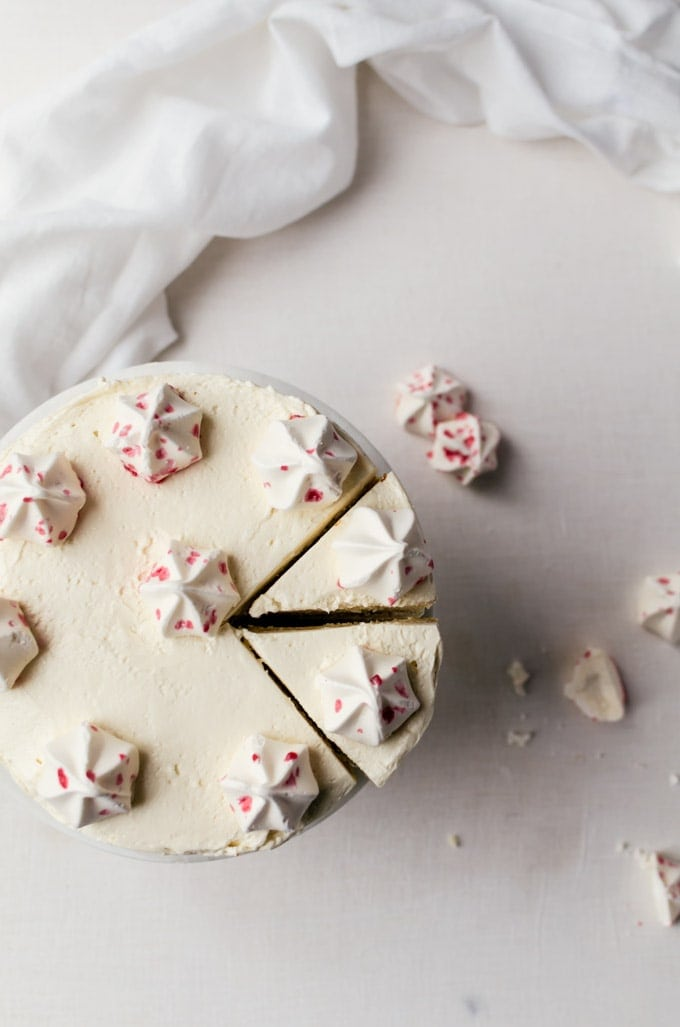 Moist and delicately flavored white chocolate cake with vanilla peppermint buttercream frosting