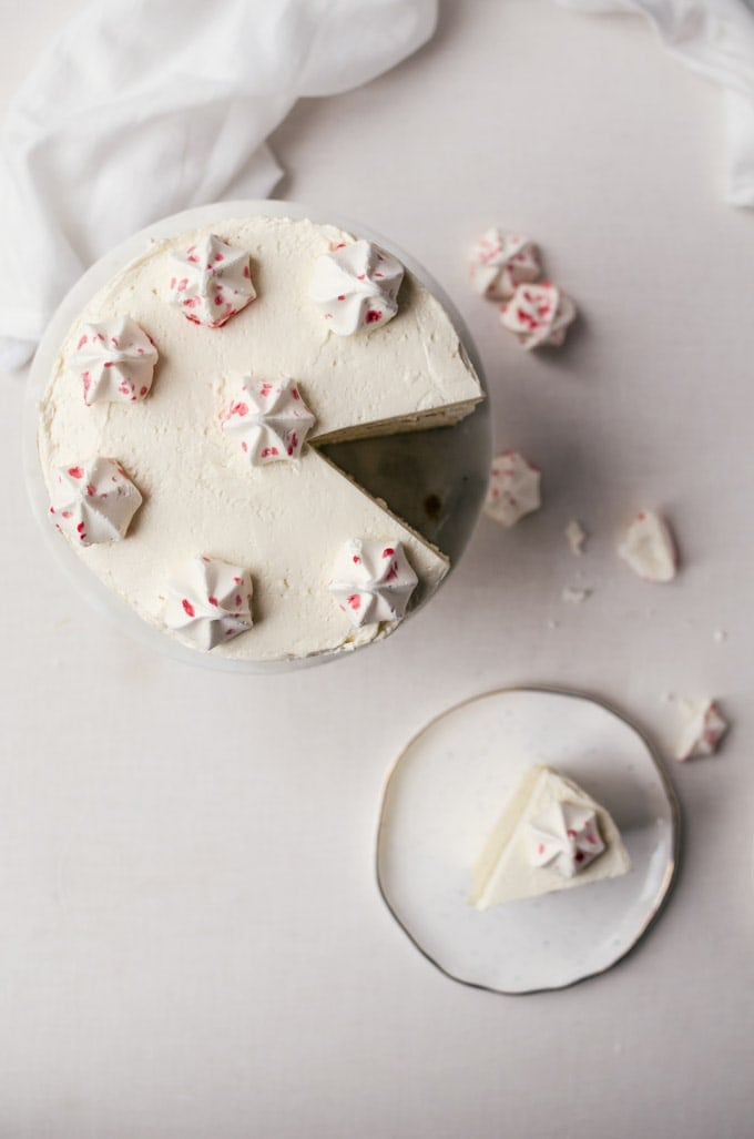 White chocolate cake with peppermint buttercream frosting