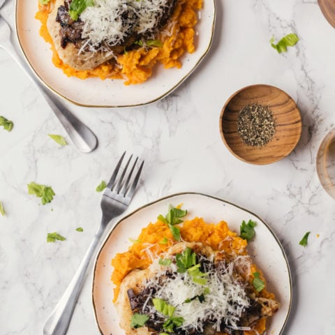 blue apron review seared chicken with sweet potato mash