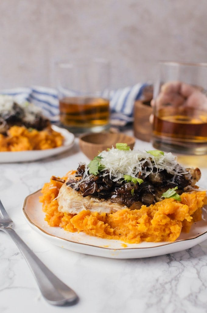 caramelized onion, mashed sweet potato, and seared chicke