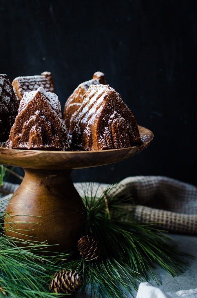 bundt cakes on wood cake stand