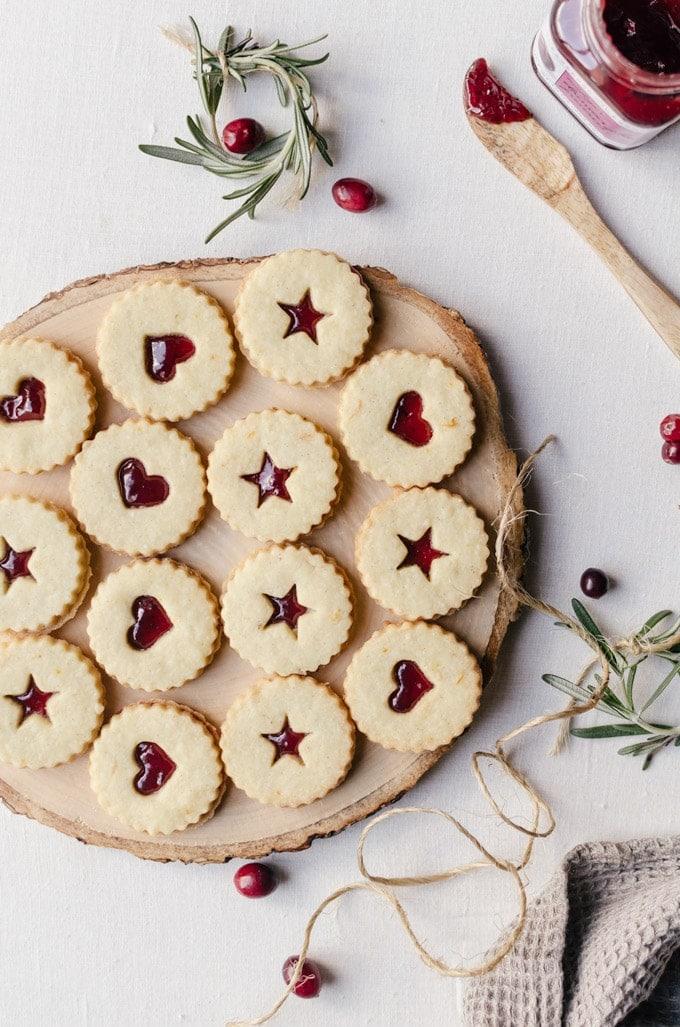 Plum linzer cookies