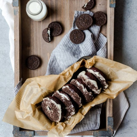 Chocolaty Oreo doughnuts packed with Oreos in every single bite