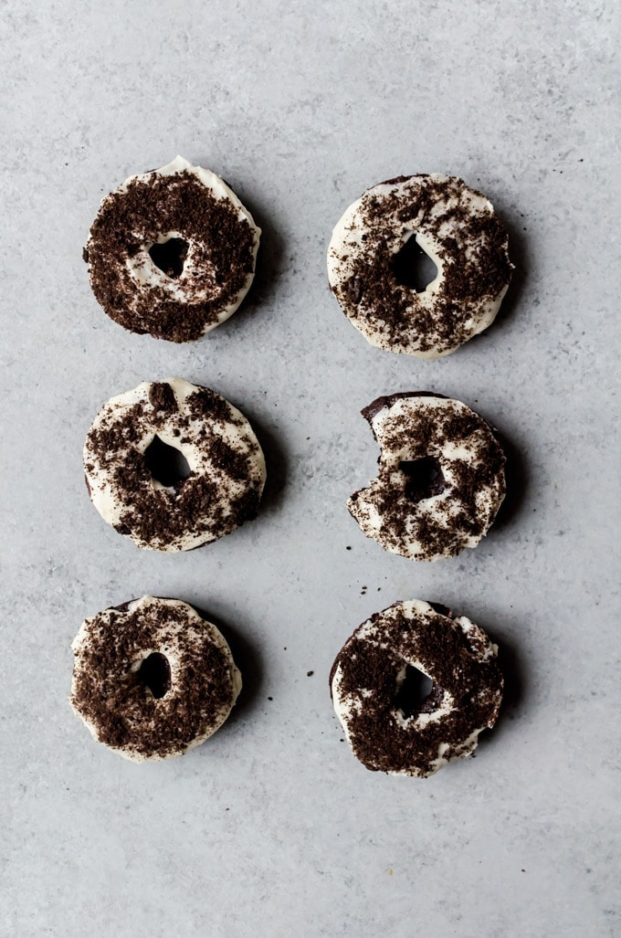 Melt in your mouth Oreo doughnuts with Oreos baked directly into the batter