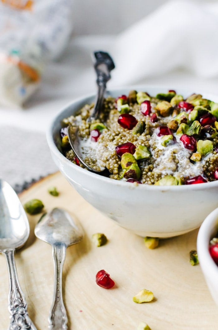 Persian love cake flavored quinoa breakfast bowl