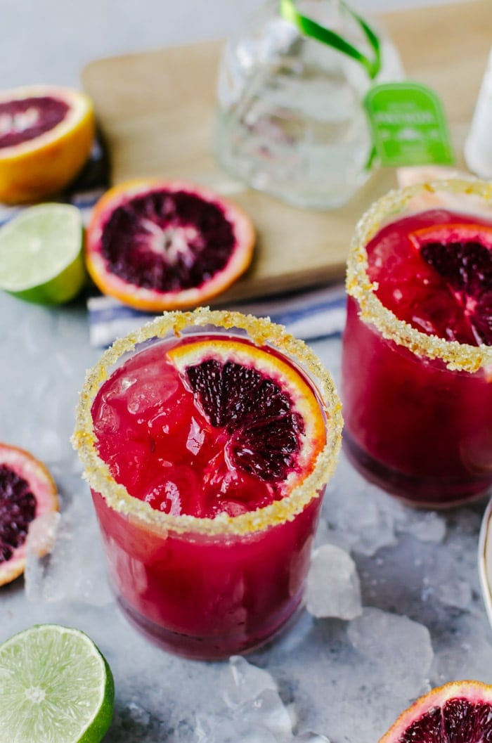 These delicious blood orange margaritas are a fruity cocktail everyone will love. It's sure to be a party favorite!