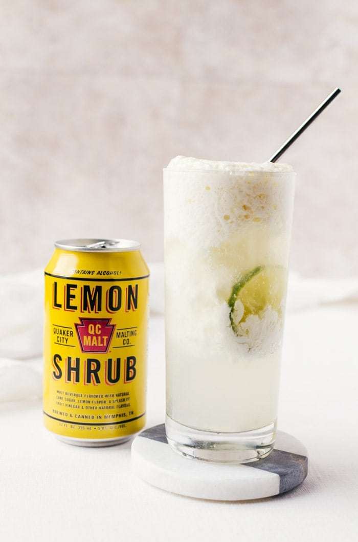 Coconut lemon float with lime. A delicious cocktail recipe you will want on repeat