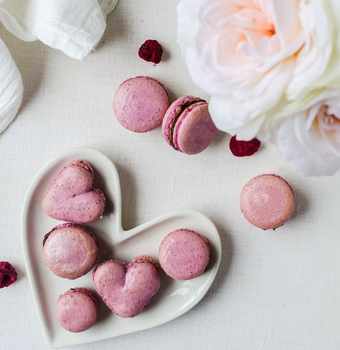 raspberry macarons with a smooth chocolate ganache