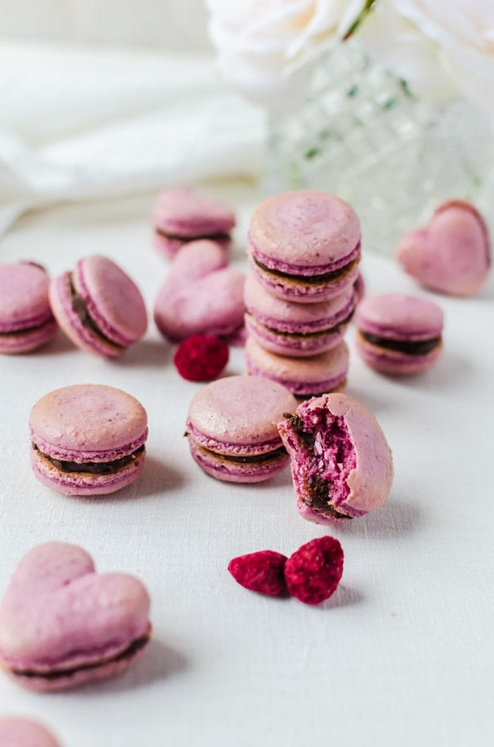 These raspberry macarons with chocolate ganache are foolproof even for a beginner