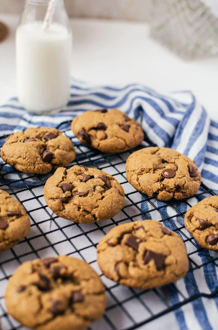 The best healthy chocolate chip cookies. Crisp on the outside with a chewy and buttery center - without the butter!