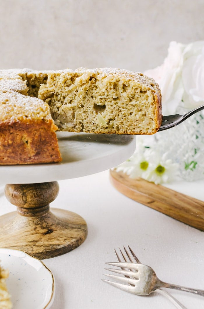 A deliciously moist Irish apple cake with irish whiskey creme anglaise. I don't think cake can get any better