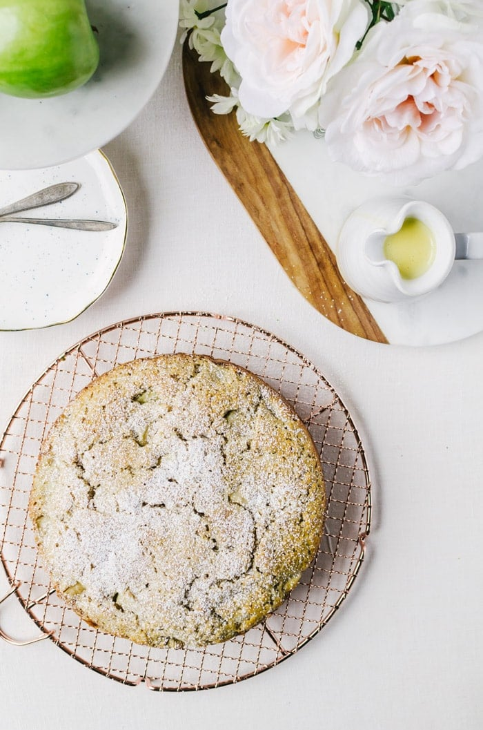 This moist Irish apple cake with whiskey creme anglaise will be your favorite dessert for St Paddy's Day