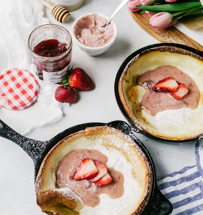 Single serving dutch baby pancakes with whipped strawberry mascarpone