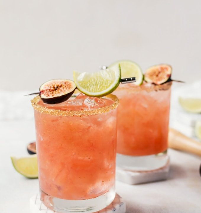 Fresh fig margarita using a cold press fig syrup for a truly unforgettable cocktail