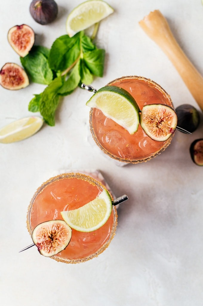 A light and refreshing fresh fig margarita perfect for spring and summer get togethers