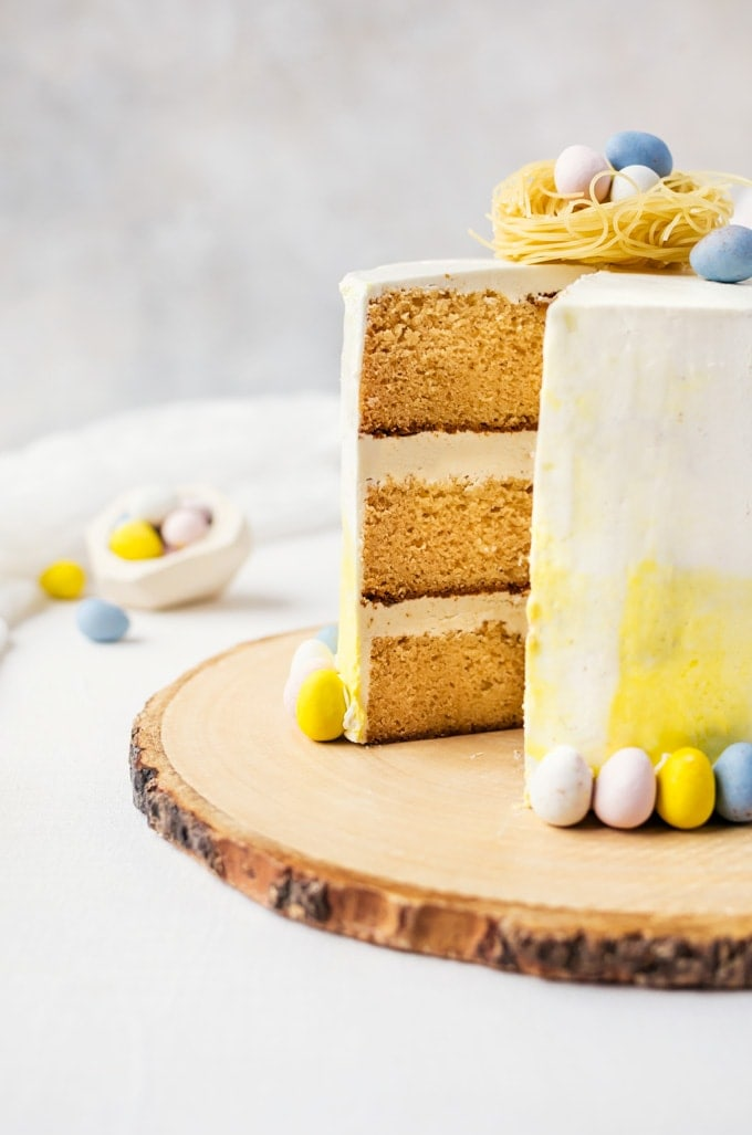 Vanilla malt cake with white chocolate buttercream... the perfect spring cake