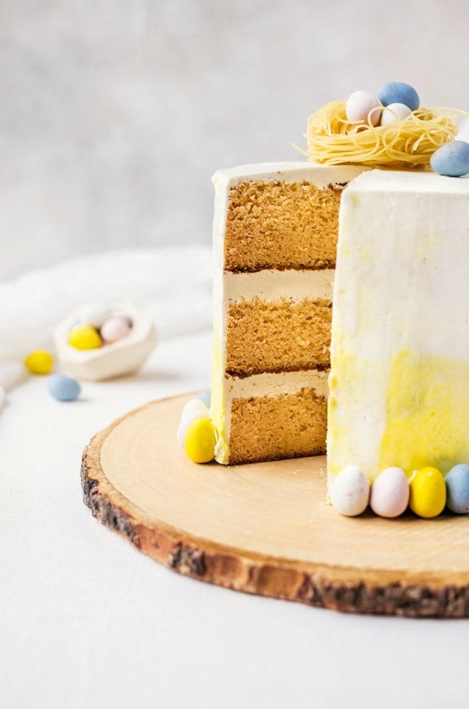 Vanilla malt cake with white chocolate buttercream... the perfect spring cake