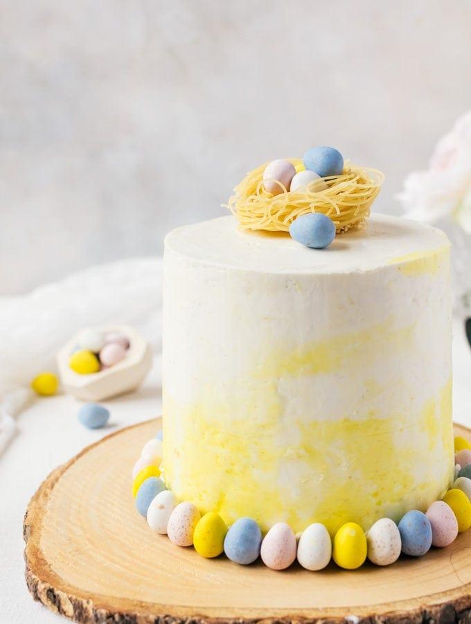 Malt Cake with White Chocolate Buttercream