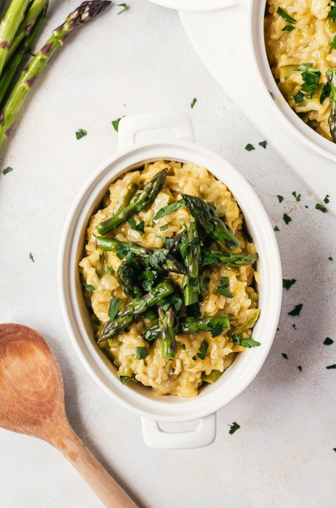 A simple asparagus risotto that is easy enough for even the most beginner cook