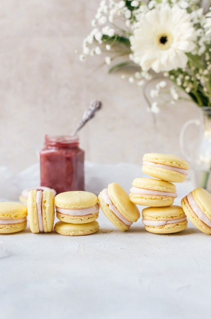 Irresistible lemon rhubarb macarons perfect to brighten your day.