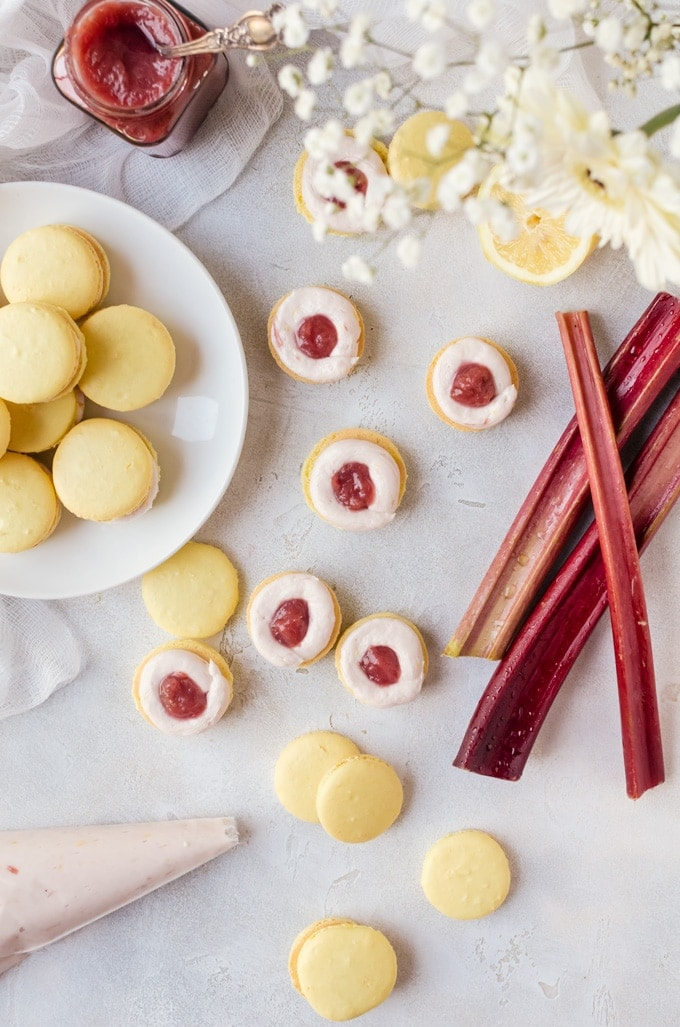 Therre is nothing like a sweet, tart lemon rhubarb macaron to put a smile on your face