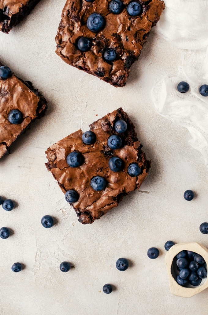 Sweet fudgy blueberry brownies that are perfect topped with a scoop of ice cream