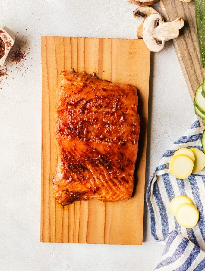 A flaky barbecue grilled salmon