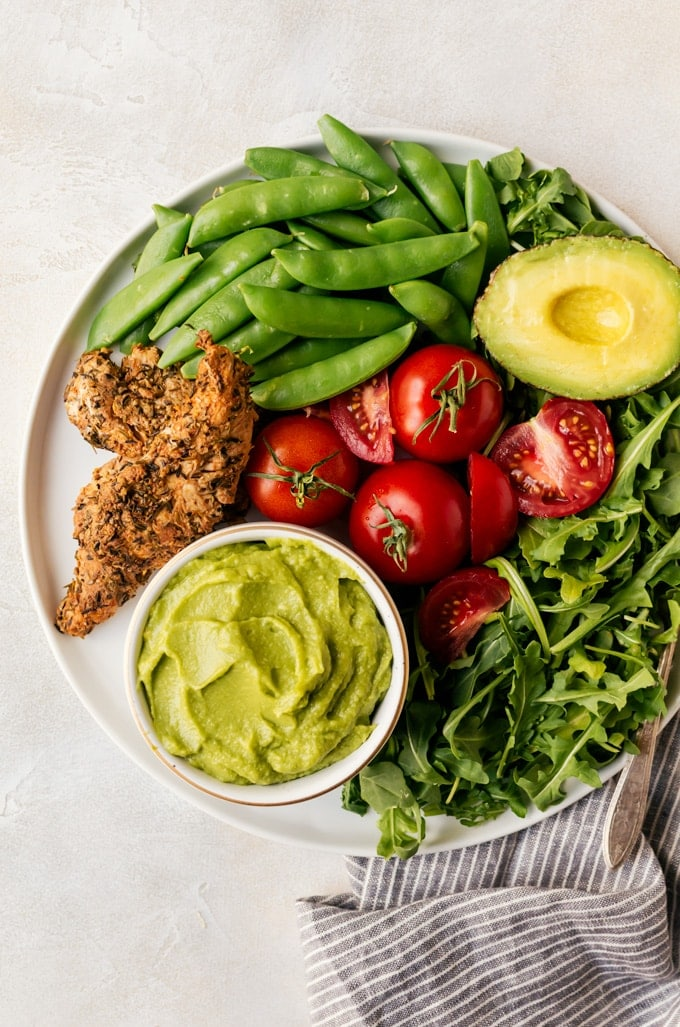 Cajun chicken salad with snap peas and arugula. The perfect summer salad