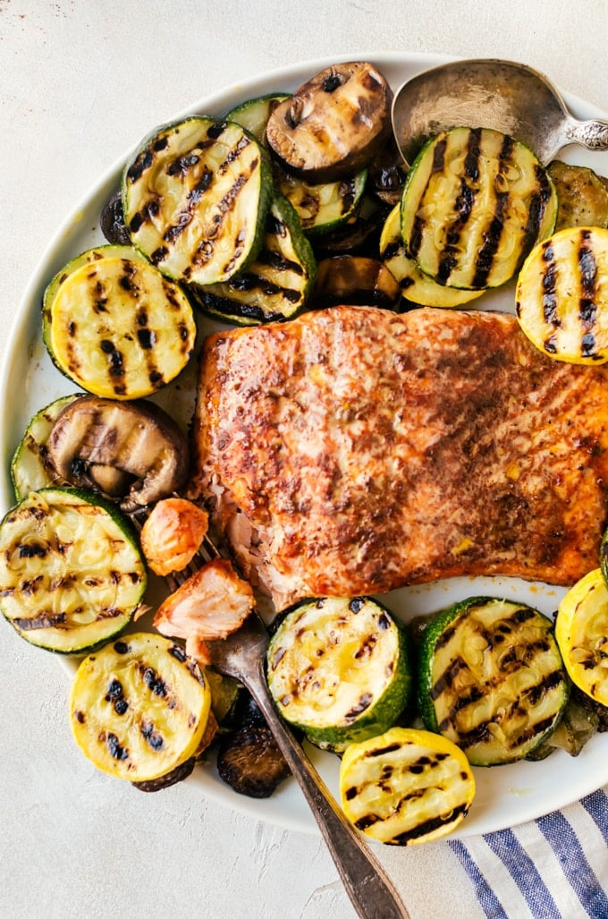 There is nothing better than cedar grilled barbecue salmon and veggies to end a hot summer day