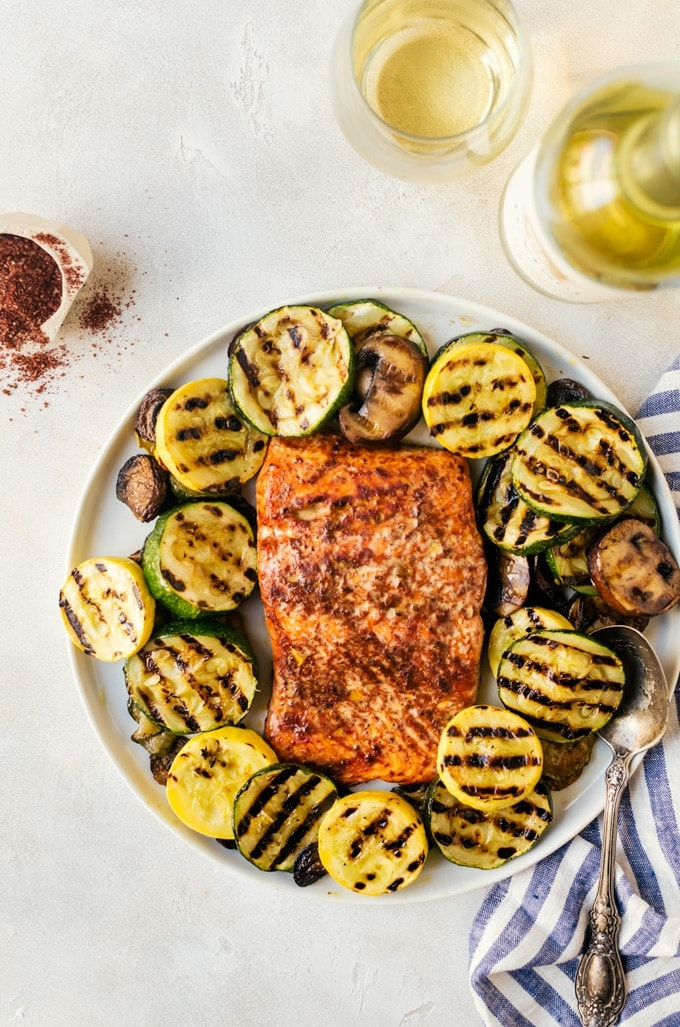 It isn't summer without a cedar plank grilled barbecue salmon with loads of grilled veggies