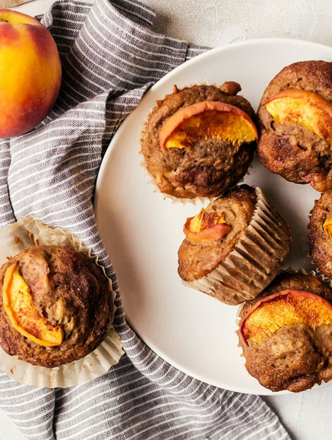overhead peach muffins on a plate
