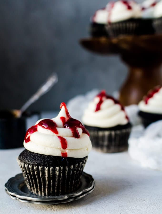 Black Velvet Cupcakes with Raspberry Jam