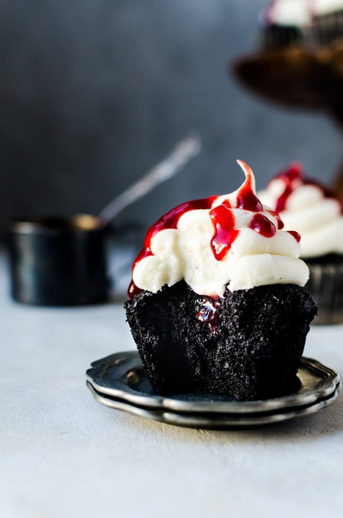 Nothing beats black velvet cupcakes with raspberry jam for Halloween