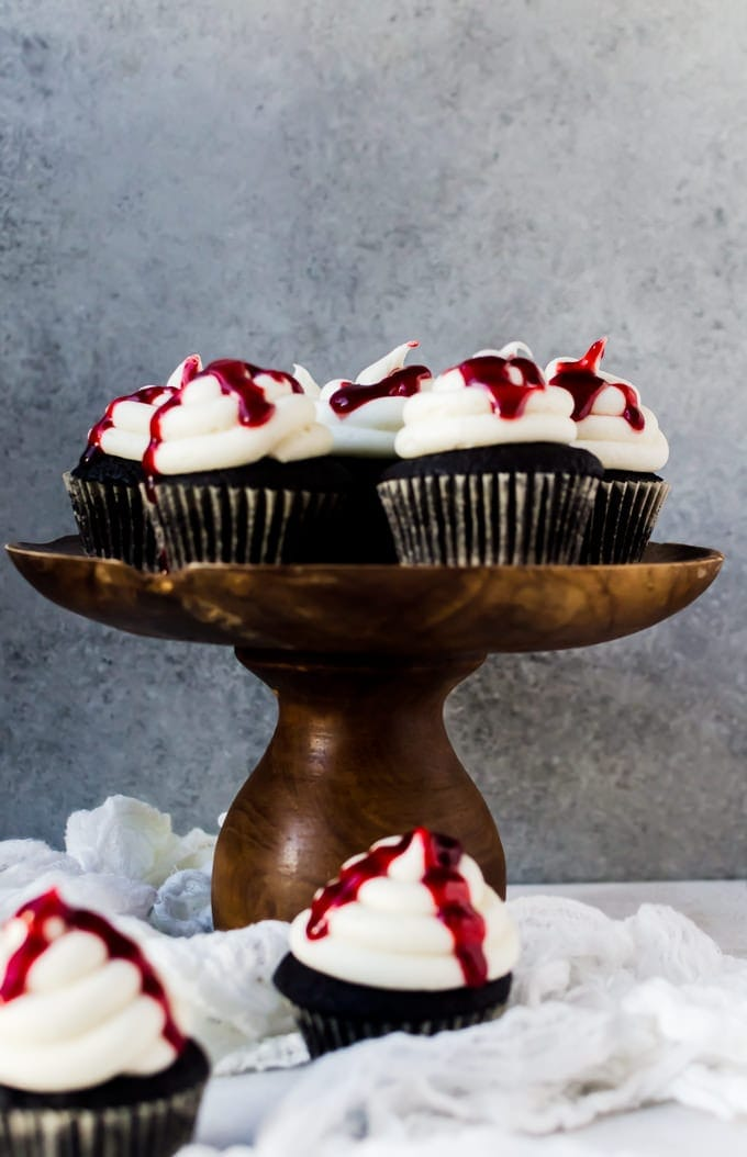 Black velvet cupcakes with raspberry jam. Nothing beats it for Halloween