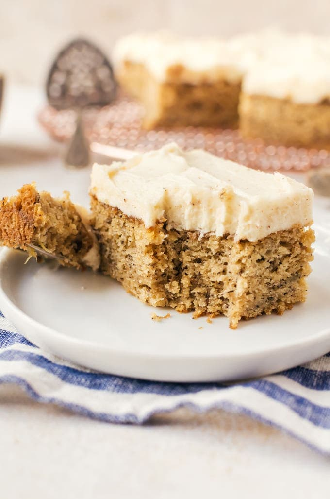 close up brown butter banana cake with fork
