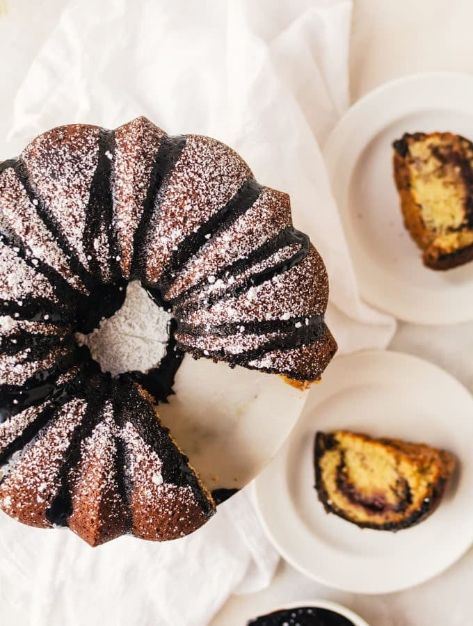 Everyone will fall in love with this raspberry chocolate coffee cake with a surprise jam filling