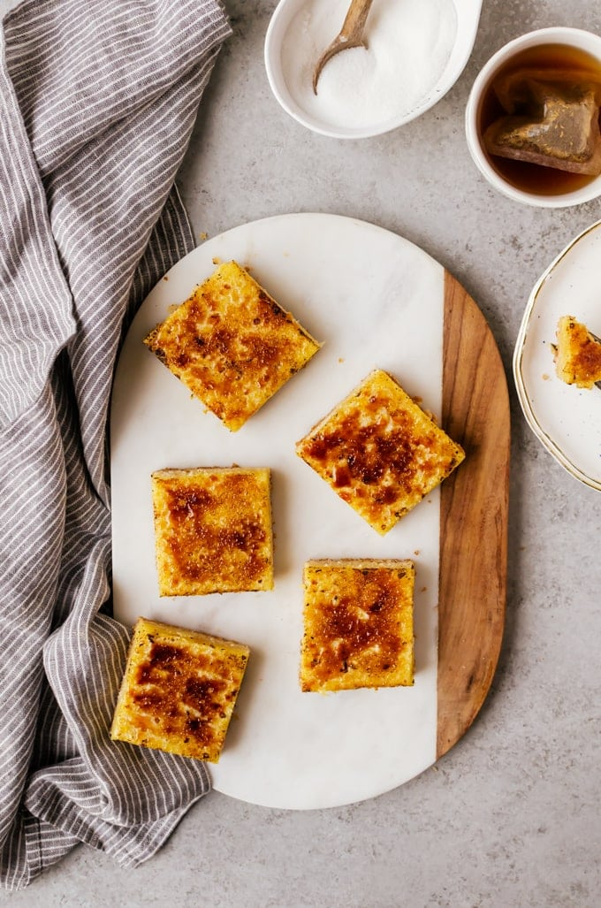 Easy bruleed lemon bars that are quick to make and easily please a crowd