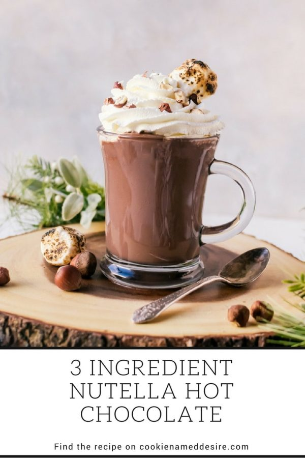 Thick, creamy three ingredient nutella hot chocolate