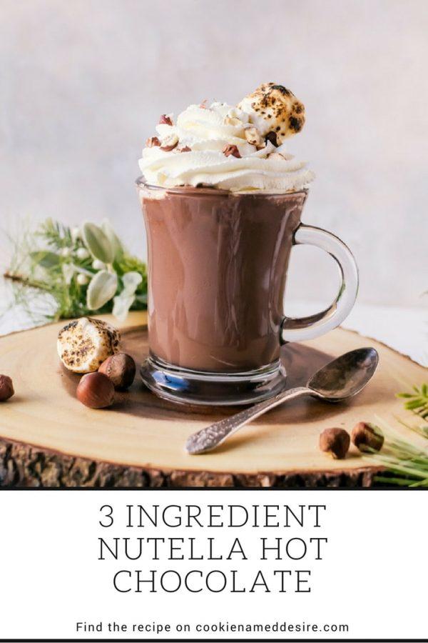Thick, creamy three ingredient nutella hot chocolate