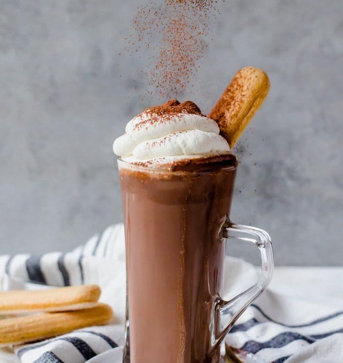 This rich tiramisu hot chocolate is a fun new twist on your favorite dessert