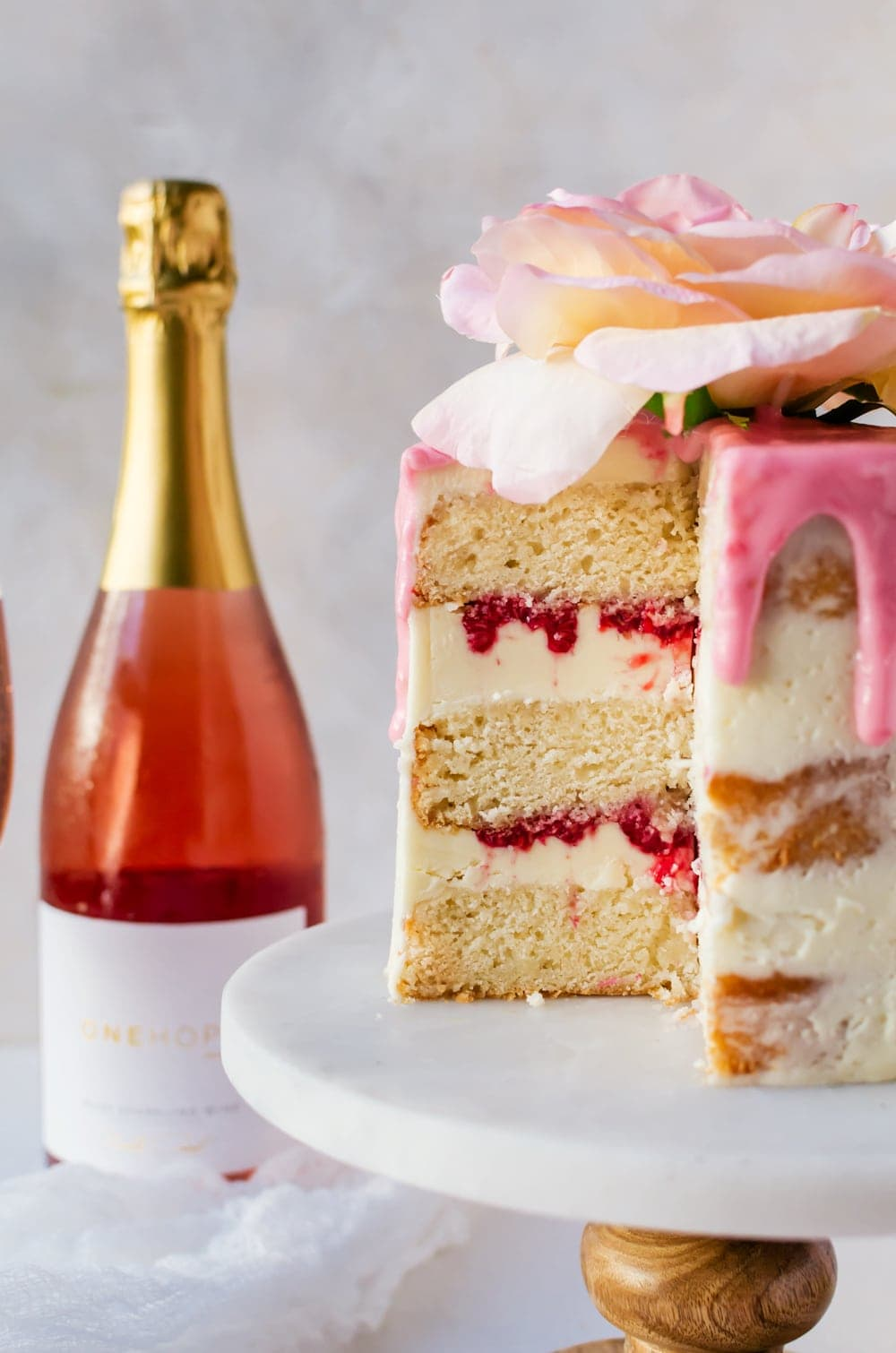 Celebrate every special moment in your life with this raspbery rose cake made with sparkling rose wine