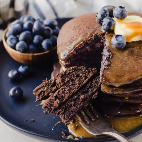 Super fluffy chocolate buckwheat pancakes will make any more better