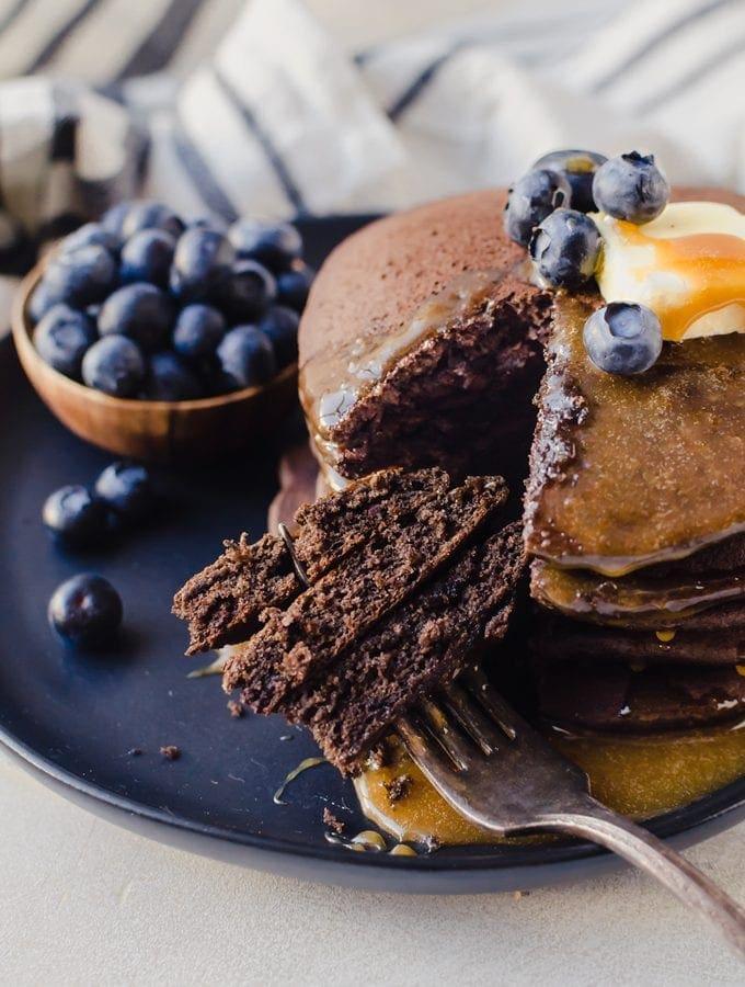 Super fluffy chocolate buckwheat pancakes will make any more better