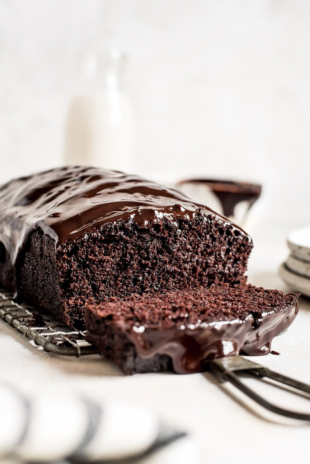 close up inside of chocolate cake