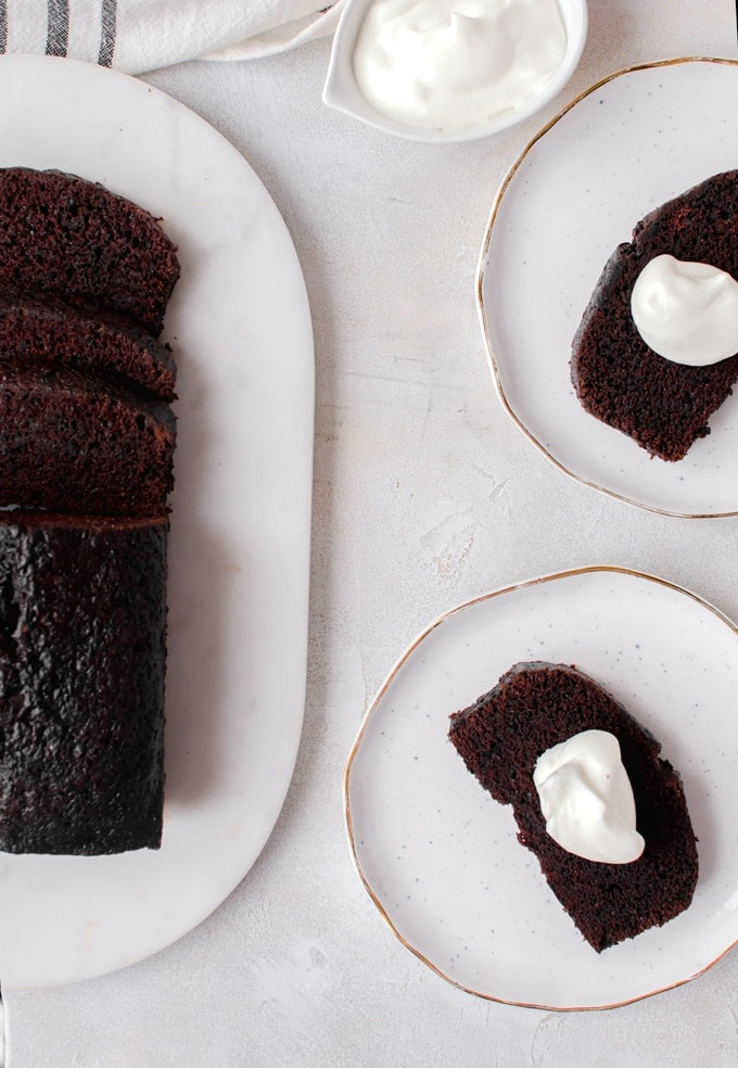 This simple chocolate loaf cake is a cinch to bake up and is perfect as a dessert or breakfast.