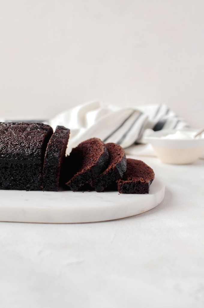 This moist chocolate loaf cake is rich in flavor thanks to the generous helping of coffee. It's sweet enough to be dessert but simple enough for breakfast.