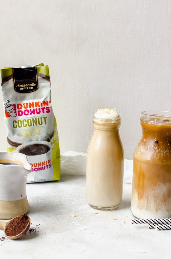Product shot and photo of coconut mocha macchiato